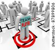 A worker marked Team Player is identified as one of the best people in an organizational chart and stands on a bulls eye to indicated he has been targeted as a top performer - stock photo