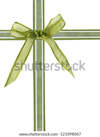 A wrapping christmas ribbon and bow on white