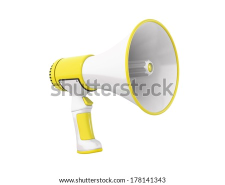 A yellow Megaphone on a white background, perspective.