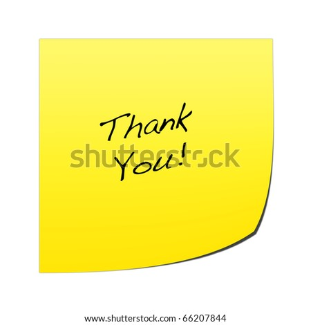 A yellow post it note with writing on a white background