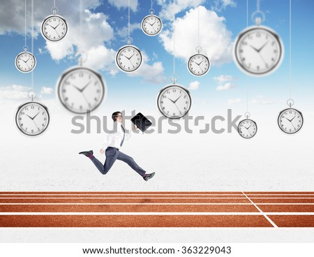 A young businessman running forward with a black folder in hand approaching the finish line. Blue sky at the background, pocket watches hovering from above. Concept of competition.