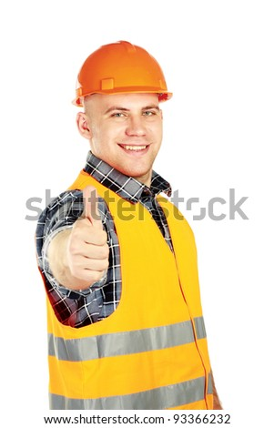 A young construcation worker showing ok, isolated on white background