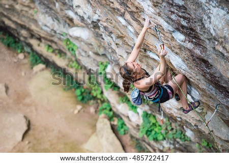 A Young Female Rock Climber at the Red River Gorge in Kentucky