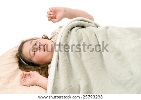A young girl sleeping and having bad dreams, isolated against a white background