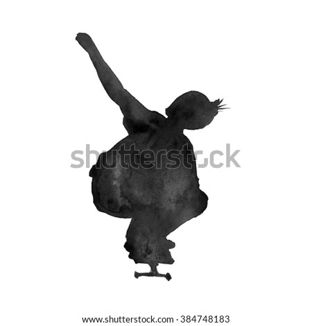a young man on a skateboard. skeytborde in motion. silhouette. insulated. Watercolor
