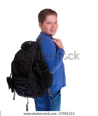A young school boy ready for school