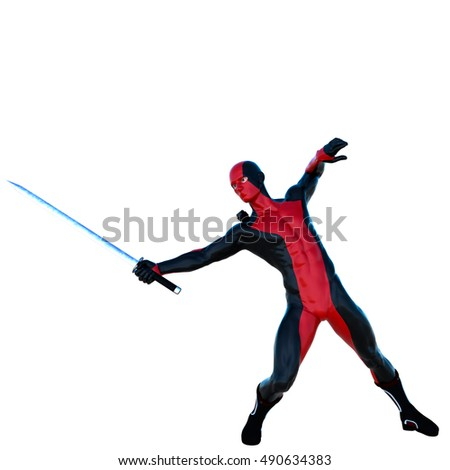 a young strong man in a red and black full latex suit. He deftly parries with a sword. Pointing to the left. 3D rendering, 3D illustration