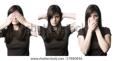 "A young woman indicating the popular phrase, ""See no evil, hear no evil, speak no evil""."