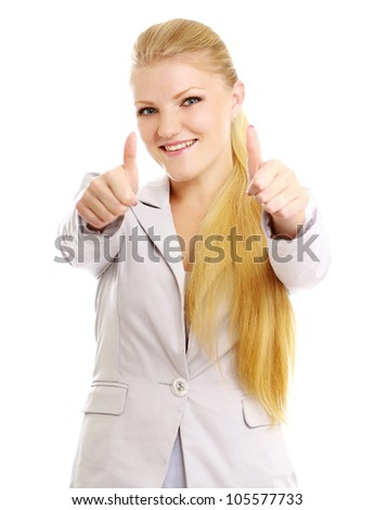 A young woman showing ok ,isolated on white background