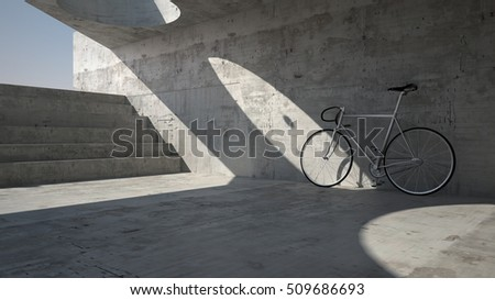 Abandoned bike in underground place, 3d illustration