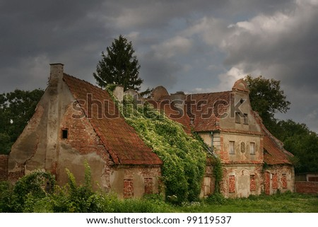 abandoned old house in rural area.