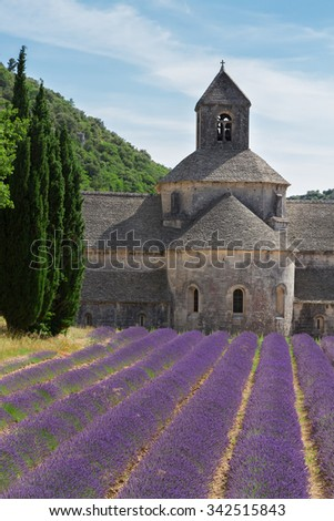 Abbey Senanque and rows of  Lavender field at summer day, France