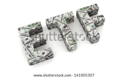 Abbreviation ETF made from dollar banknotes on white background