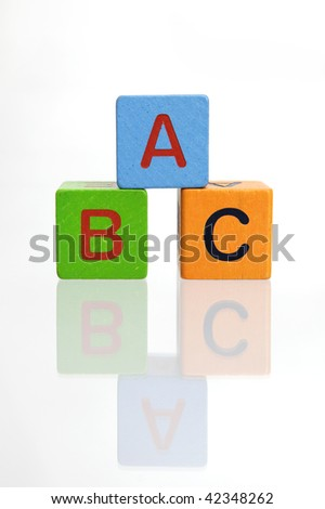 ABC wooden blocks stacked on white background