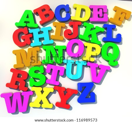abcd alphabet over white background