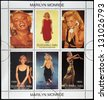 ABKHAZIA - CIRCA 2000: stamps printed in Abkhazia (Georgia) shows Marilyn Monroe, circa 2000 - stock photo