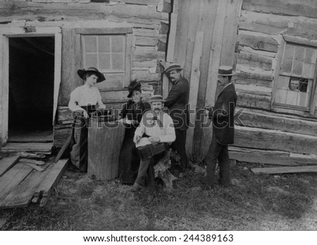 Abraham Lincoln's log cabin. The Lincoln Log Cabin Association work at the site of the log cabin built by Abraham Lincoln and his father, Thomas, in 1831, in Coles County, Illinois. 1891.