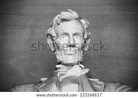 Abraham Lincoln Statue at Lincoln Memorial - Washington DC, United States. Black and white above shoulders photo.
