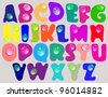 Abstract ABC,color alphabet with color drops, beautiful illustration - stock vector