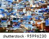 Abstract architectural detail in Chefchaouen, Morocco, Africa - stock photo