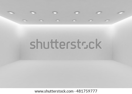 Abstract architecture white room interior - wide empty white room with white wall, white floor, white ceiling with small round ceiling lamps and hidden ceiling lights and empty space, 3d illustration