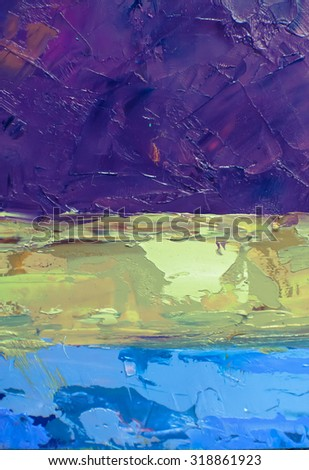 Multicolor Abstract Sky Oil Painting