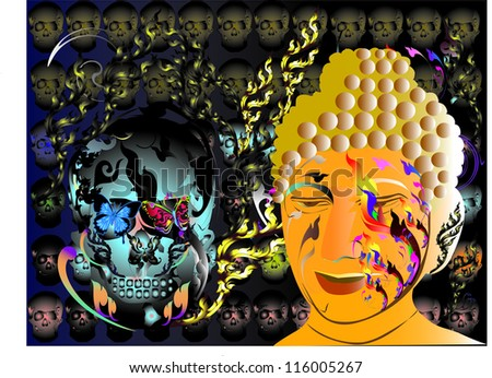 abstract art buddha and skull