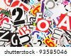 Abstract background from newspaper letters clippings - stock photo