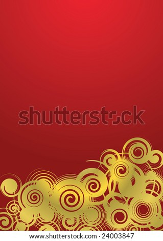 Abstract background, golden ornament with gradient fill, illustration