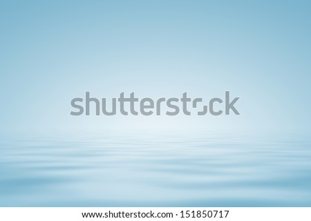 Abstract background in light blue. Water horizon. Illustration.