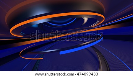 Abstract background in the form of the moving rings and a metal surface