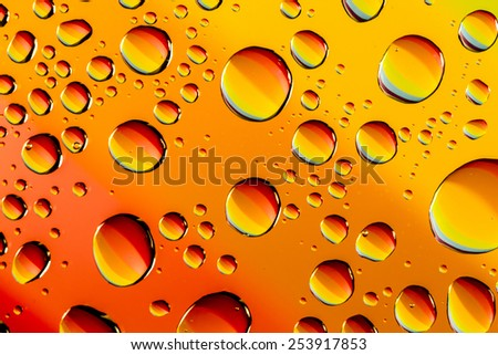 Abstract background of water drops on glass with rainbow colors reflecting in droplets