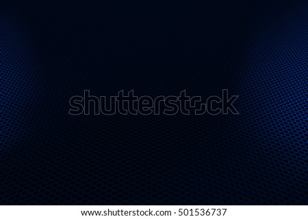 Abstract background with brushed metal hexagon grille, speaker grill, 3d render illustration
