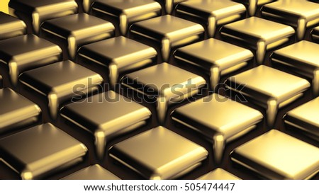 Abstract background with golden cubes, 3d illustration, 3d rendering.