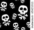 Abstract background with skulls. Seamless pattern. Raster illustration. - stock photo