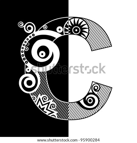 abstract black and white ABC, ornamental letter C