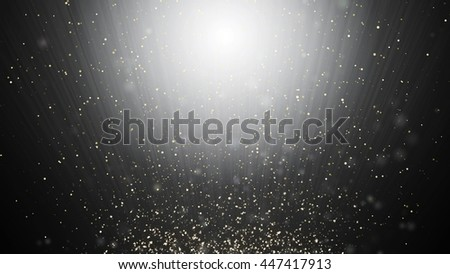 Abstract black and white swirl waves background flying particles in light beams