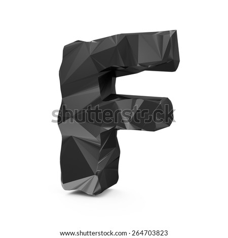 Abstract Black Fractal Geometric, Polygonal or Lowpoly Style Letters isolated on white background (Letter F)