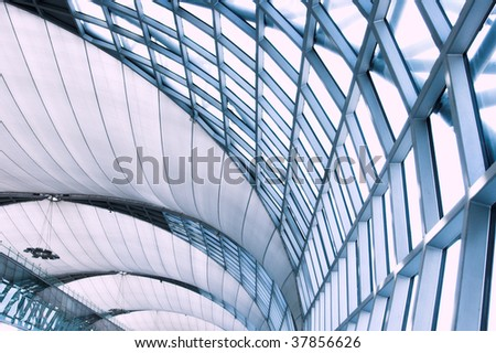 Abstract blue ceiling interior background, right composition