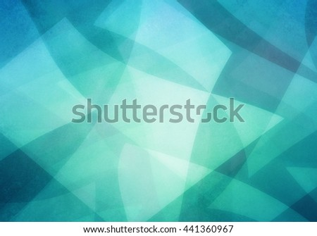 abstract blue green background, random textured rectangles squares and triangle shapes in geometric pattern of angles and layers, teal background color