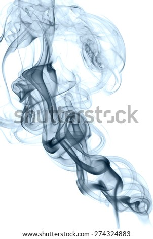 Abstract blue silky smoke isolated on white background