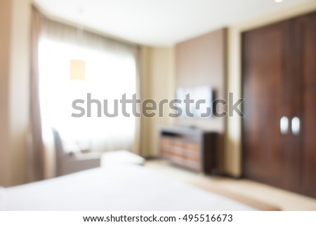 Abstract blur beautiful luxury hotel bedroom interior for background
