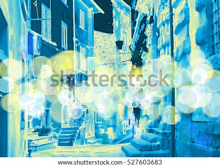 Abstract bokeh light background of night city