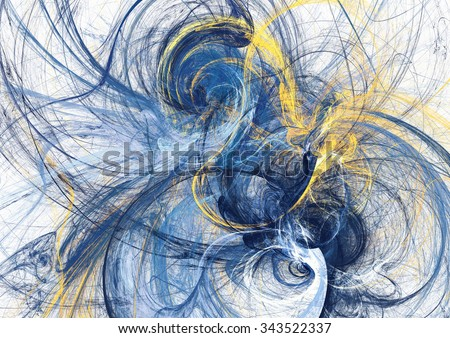 Abstract bright motion composition. Modern futuristic dynamic background. Blue and yellow color artistic pattern of paints. Fractal artwork for creative graphic design