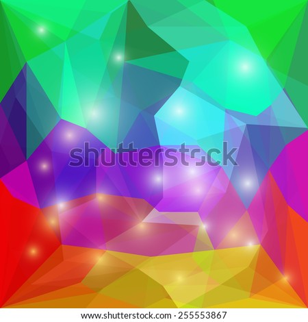 Abstract bright rainbow spectral colored polygonal triangular geometric background with glaring lights for use in design for card, invitation, poster, banner, placard or billboard cover. Raster copy