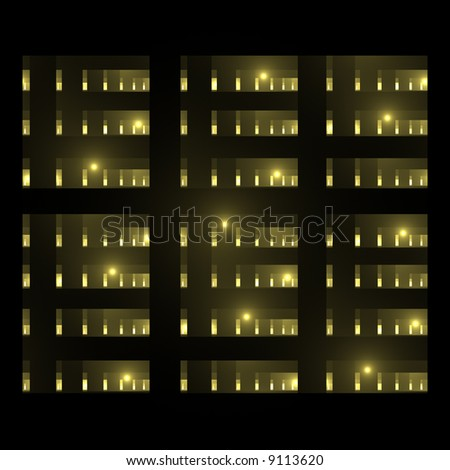 abstract building or parking garage silhouette with lights