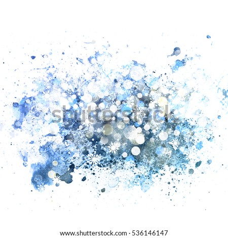 Abstract christmas background. Snowflakes and bokeh lights. Blue festive watercolor paper texture.