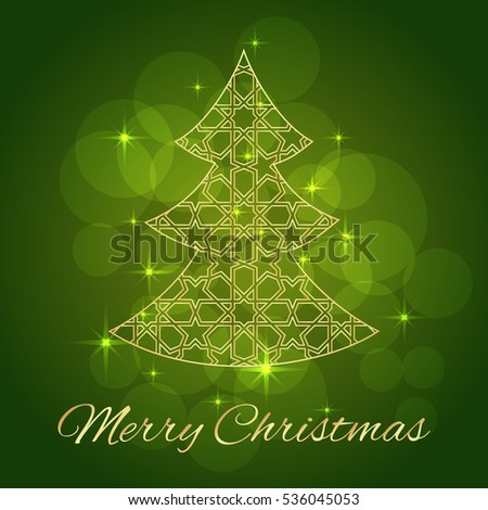 Abstract Christmas tree. Greeting, invitation card. Simple decorative red and gold.  illustration