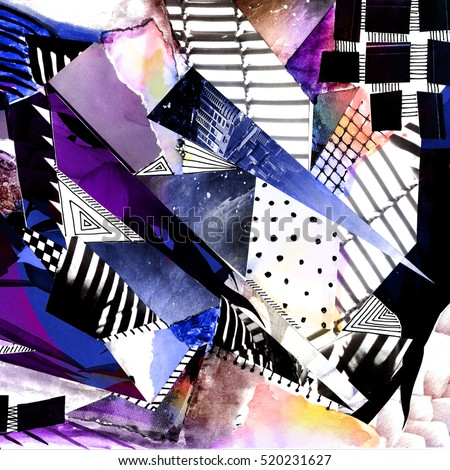 Abstract collage with geometrics elements