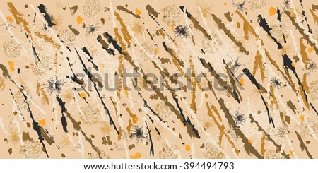 Abstract composed of many earth tone colors and lines